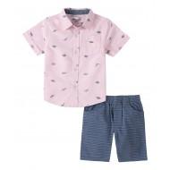 Kids Headquarters Pink Dino Button-Up Shirt & Blue Shorts (2T-4T)
