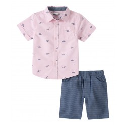 Kids Headquarters Pink Dino Button-Up Shirt & Blue Shorts (2T-4T)