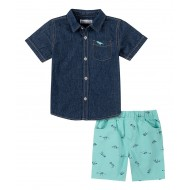Kids Headquarters Button-Up Shirt & Turquoise Dino Skeleton Shorts  (2T-4T)
