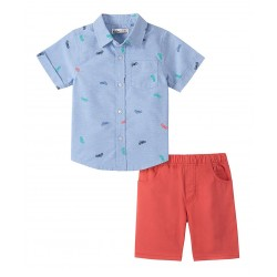 Kids Headquarters Blue Abstract Button-Up & Red Shortss  (2T-6)
