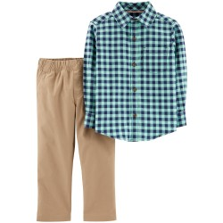 Carter's 2-Piece Gingham  & Canvas Pant Set - Toddlers
