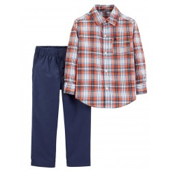 Carter's 2-pc. Plaid Pocket Shirt & Pants Set - Toddler Boys