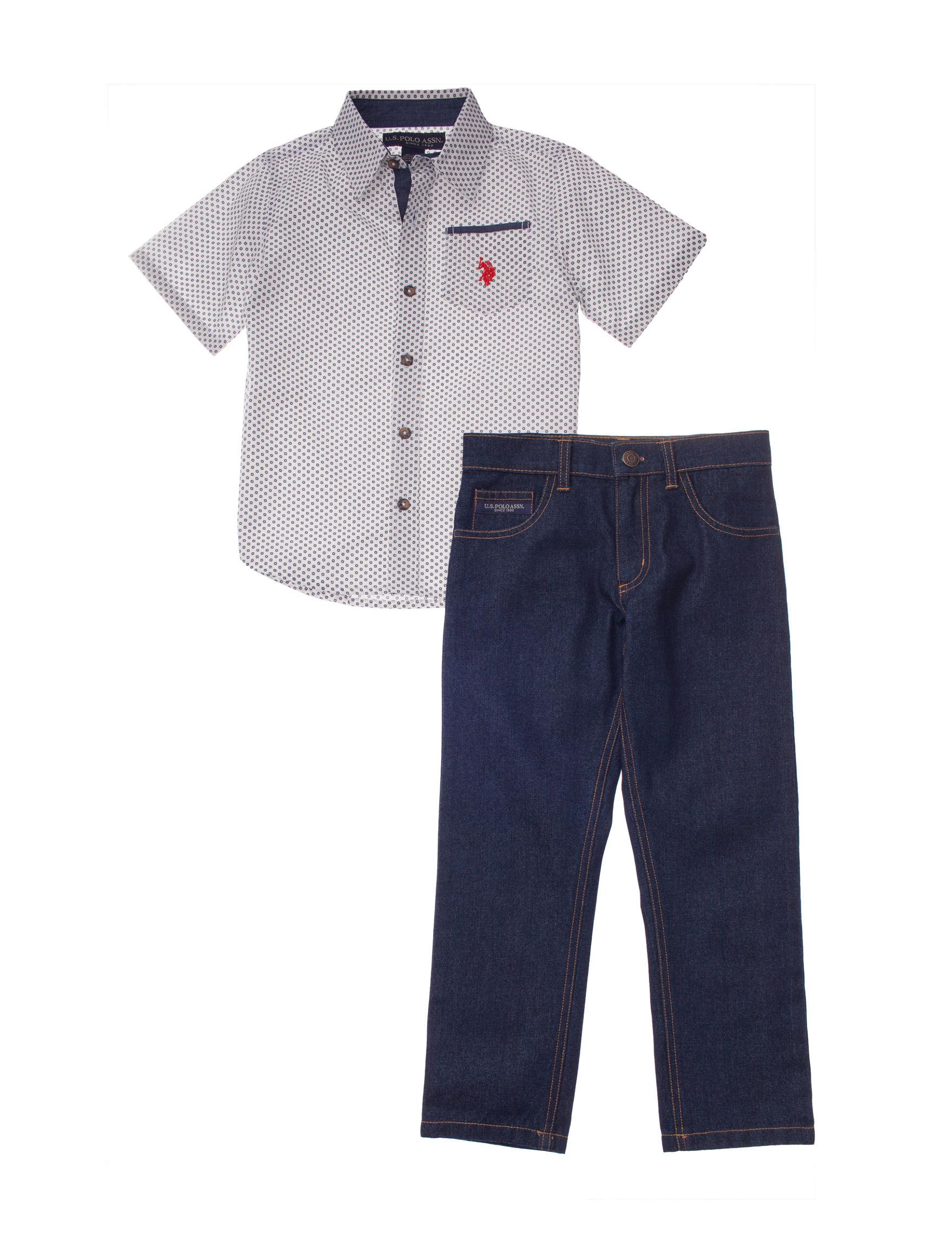 Polo Assn U.S Baby Boys 2 Piece Polo Shirt and Shortall Set