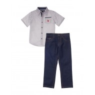 U.S. Polo Assn. 2-pc. Tile Woven Pocket Shirt & Pants Set - Toddlers Boys