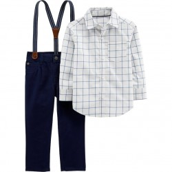 Carter's Checkered Shirt, Pants & Suspenders Set - Toddlers