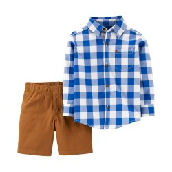 Carter's 2-Piece Checkered Button-Front Top & Canvas Short Set Blue-Brown