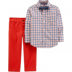 Carter's Plaid Shirt, Bow Tie & Pants Set - Toddlers
