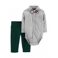 Carter's Striped Plaid Bowtie Bodysuit & Pants Set - Baby 3-18 Mos.