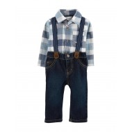 Carters Buffalo Plaid Bodysuit Suspender Pants Set - Blue