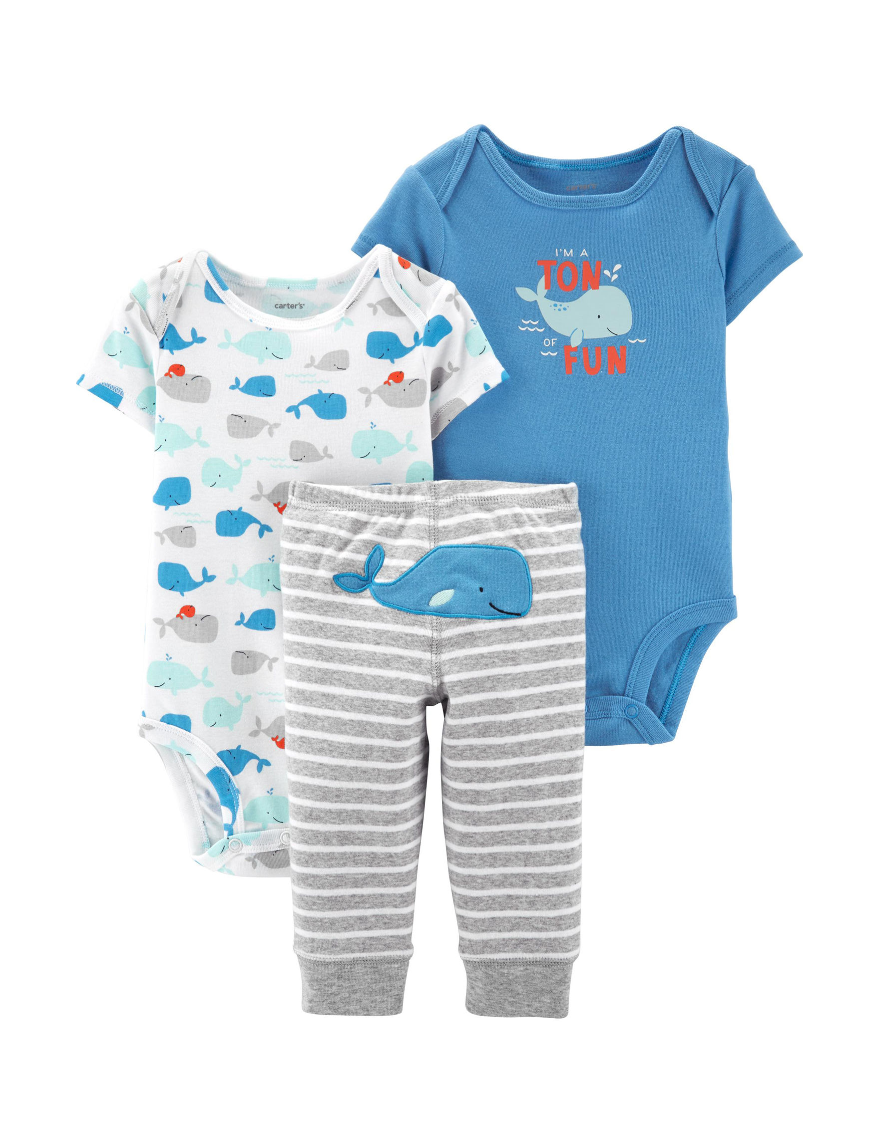 Blue//Red, 6 Months Carters Just One You Baby Boys Whales Shortall Set