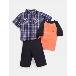 US Polo Assn 3-Piece Baby Boy Set- Orange