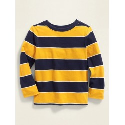 Striped Long-Sleeve Tee for Baby Boys - Yellow/Blue