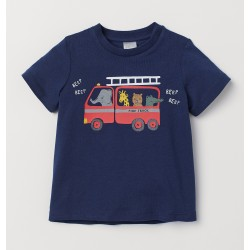 Baby Boy T-Shirt 	Dark blue/fire truck by H & M