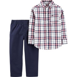 Carter's 2-Piece Plaid Button-Front Top & Poplin Plant Set