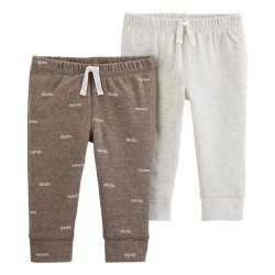 Carter's 2-Pack Cotton & Poly Pants - Brown/Ivory