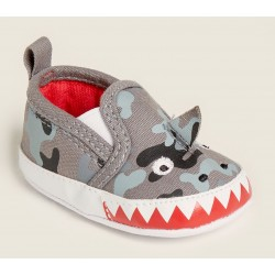 First Steps Grey Camo Shark Slip-On Sneakers