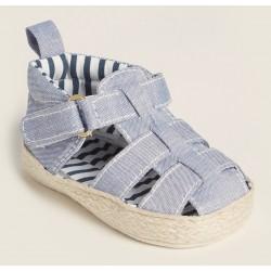 First Steps (Newborn/Infant Boys) Light Blue Fisherman Sandals