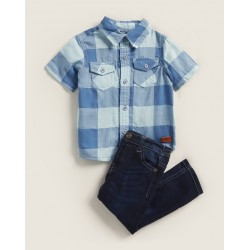 7 For All Mankind Boys' Two Piece Shirt and Stretch Jean Set