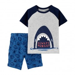 Carter's 2 Piece Shark Raglan Graphic Tee & Shorts Set - Baby Boys