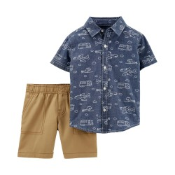 Carter's 2-Piece Chambray Button-Front & Canvas Short Set - Baby Boys