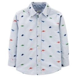 Carter's Striped Dinosaur Oxford Button-Front Shirt