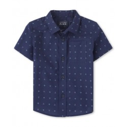 Baby Boys Triangle And Square Poplin Button Down Shirt