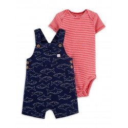 Child of Mine by Carter's Baby Boy Short Sleeve Bodysuit & Overalls, 2-Piece Outfit Set