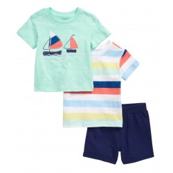 LITTLE ME Sailboat 2-Pack T-Shirts & Shorts Set
