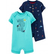 Carter's 2-Pack Whale & Shark Rompers