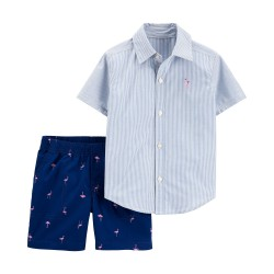 Carter's 2-Piece Striped Button-Front Shirt & Flamingo Short Set