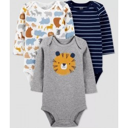 Baby Boys' 3pk Tiger Long Sleeve Bodysuit - Just One You made by carter's Blue/Gray