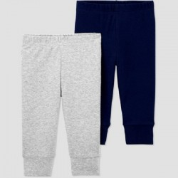 Baby Boys' 2pk Pull-On Pants - Just One You made by carter's Navy/Gray