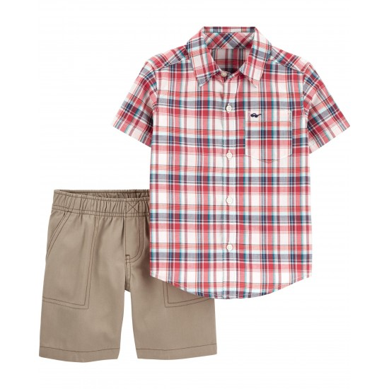 Carter's 2-Piece Plaid Button-Front & Canvas Short Set