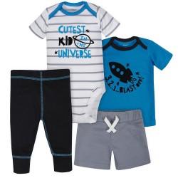 Gerber 4-Piece Baby Boys Rocket Ship Bodysuit, Shirt, Pants & Short Set