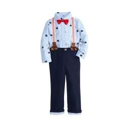 Baby Boys Oxford Shirt and Pants with Suspenders by Crown & Ivy
