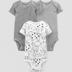Baby 3pk Farm Animals Bodysuit - Just One You by carter's Gray