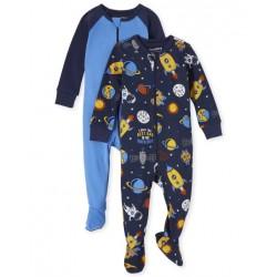Baby Boys Space Snug Fit Cotton One Piece Pajamas 2-Pack