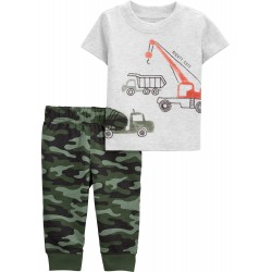 Child of Mine Baby Boy Short Sleeve Shirt and Pant Outfit Set, 2pc