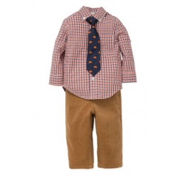 Little Me Baby's Three-Piece Cotton Top Pants & Tie Set - 12 to 24 months  CAMEL