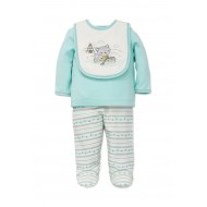 Little Me 3-Piece Raccoon Top and Footed Pants Set with Bib