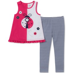 Kids Headquarters Baby Girls 2-Pc. Ladybug Tank Tunic & Striped Leggings Set