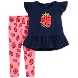 Carter's Baby Girls 2-Pc. Strawberry Peplum Top & Printed Leggings Set