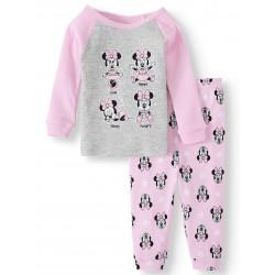 Minnie Mouse Baby Girl Long Sleeve Cotton Snug Fit Pajamas, 2-Piece Set