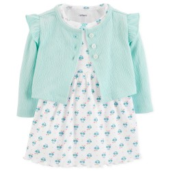 Carter's Baby Girls 2 Piece Floral Bodysuit Dress and Cardigan Set