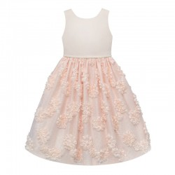 Baby Girls Dress With Faux Pearl Appliques & Floral  Mesh Skirt - by AMERICAN PRINCESS