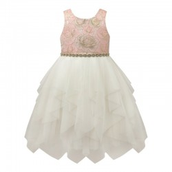 Baby Girls Metallic Brocade Dress with Corkscrew Skirt -Pink Gold- by AMERICAN PRINCESS