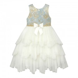 Baby Girls Dress With Tiered Fairy Skirt & Crystal Bow- Blue - by AMERICAN PRINCESS