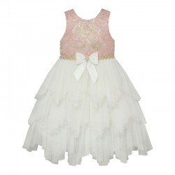 Baby Girls Dress With Tiered Fairy Skirt & Crystal Bow- Pink - by AMERICAN PRINCESS