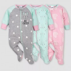 Gerber Baby Girls' 3pk Bunny Sleep N' Play Sleepsuits