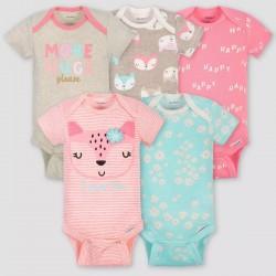 Gerber Baby Girls' 5pk Short Sleeve Fox Bodysuits